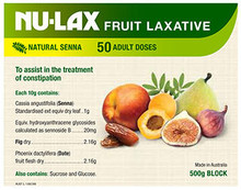 Contains the tropical herb senna and certain pure dried fruits all which have been known to have a good effect on the bowel