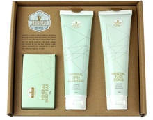 Each pack contains 3 Zeosoft Mineral Skin Cleansing Products - Mineral Body Bar, Mineral Skin Cleanser 150ml and Mineral Face Scrub 150ml