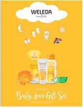 Each pack contains Weleda Calendula Baby Shampoo and Wash 200ml, Weleda Calendula Body Lotion 200ml, and Weleda Calendula Nappy Change Cream 75ml
