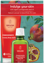 Each pack contains Weleda Pomegranate Wash 200ml and Weleda Pomegranate Oil 100ml