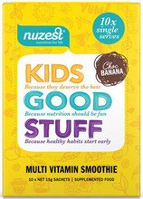 Contains individual sachets of a nutritious blend of greens, fruits, veggies and berries; boosted with vitamins, minerals, protein, digestive enzymes, probiotics and more – all delivered in a delicious Chocolate Banana flavoured smoothie.