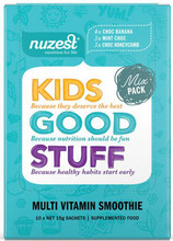 Contains individual sachets of a nutritious blend of greens, fruits, veggies and berries; boosted with vitamins, minerals, protein, digestive enzymes, probiotics and more – all delivered in a mix 3 delicious  flavoured smoothies