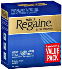 Each pack contains 4 x 60ml bottles of Minoxidil Solution 5% w/v.
