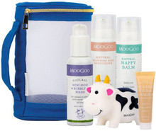 Each pack contains Mini Moo Bubbly Wash, Soothing MSM Cream, Nappy Balm, Mudder Udder Balm and a baby toy cow.