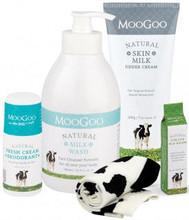 Each pack contains MooGoo Milk Wash, MooGoo Cream Deodorant, MooGoo Lip Balm and MooGoo Skin Milk Udder Cream plus 1 pair cosy socks