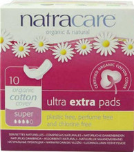 Slim line winged pad that features an organic cotton cover, a compressed plant cellulose core topped with an extra layer of fluff pulp for extra absorbency and backed with a biofilm leakproof barrier.