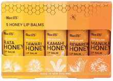 Each pack Pack Contains One of Each - Manuka Honey Lip Balm, Rewarewa Honey Lip Balm, Kamahi Honey Lip Balm, Tawari Honey Lip Balm and Rata Honey Lip Balm