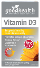 Good Health Vitamin D3 with Advanced Micro-Lingual Technology, quickly dissolves in the mouth and supports calcium absorption for healthy bones.