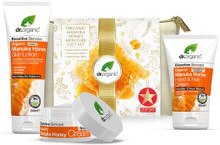Exclusive Gift Set with Manuka Honey Rescue Cream, Skin Lotion and Hand Cream, formulated with nourishing extracts such as cocoa butter, sunflower seed oil and vitamin E, and work together to leave skin feeling restored, moisturised and naturally healthy