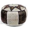 Black / Beige Fez Moroccan Leather Pouf