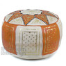 Orange / Beige Fez Moroccan Leather Pouf