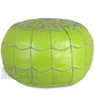 Lime Green Moroccan Leather Pouf with arch design