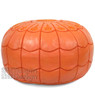 Orange Moroccan Leather Pouf with arch design