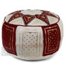 Chocolate / Beige Fez Moroccan Leather Pouf