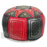 Black / Red Fez Moroccan Leather Pouf