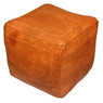 Dark Orange Square Moroccan Pouf