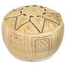 Beige Fez Moroccan Leather Pouf