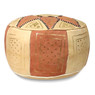 Dark pink / Beige Fez Moroccan Leather Pouf