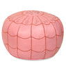 Pink Moroccan Leather Pouf with arch design