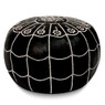 Black Moroccan Leather Pouf with arch design