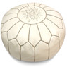 White with Grey Stripes Moroccan Leather Pouf
