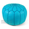 Sky Blue Moroccan Leather Pouf