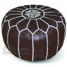 Chocolate Moroccan Leather Pouf