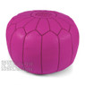 Fuchsia Moroccan Leather Pouf