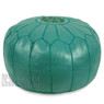 Teal Moroccan Leather Pouf