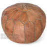 Dark Tan Moroccan Leather Pouf