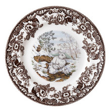 "Spode Woodland American Wildlife Winter Scenes Snowshoe Rabbit Dinner Plate 10.5"" (Set of 4)"