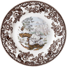 "Spode Woodland American Wildlife Winter Scenes Snowshoe Rabbit Salad Plate 8"" (Set of 6)"