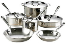 "Copper-Core 10-Piece Set (8"" & 10"" Fry Pans, 2 & 3 Qt. Sauce Pans, 3 Qt. Saute Pan, 8 Qt. Stockpot, 4 Lids)"