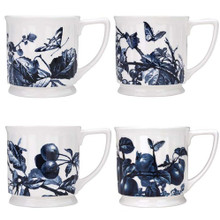 "Reed & Barton Austin Floral Indigo Set 4 Assorted Mugs, 3 7/8""H."