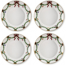"Royal Copenhagen Star Fluted Christmas Salad/Dessert Plate 8.5"" (2503622) Set of 4"
