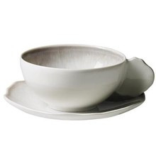 Jars Plume White Pearl Tea Cup 6.7 oz. & Saucer (Set of 4)