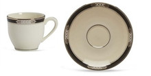 "Lenox Hancock Demitasse Cup 4 Oz & Saucer 4"" Set of 2"