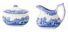 Spode Blue Italian Covered Sugar Bowl & Creamer Set