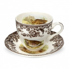 Spode Woodland Teacup & Saucer (4 Sets)