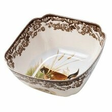 "Spode Woodland Giftware Square Bowl 9.5""- Quail,Lapwing"