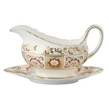 Royal Crown Derby Panel Red Sauce Boat & Stand 14 oz.