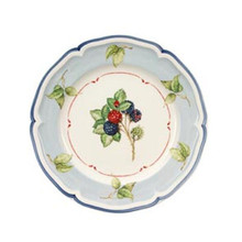 Villeroy & Boch Cottage Salad Plate: Blue w/Leaves Rim (Set of 4)