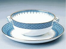 Mottahedeh Blue Lace Cream Soup & Saucer
