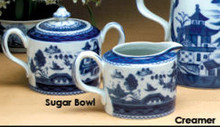 Mottahedeh Blue Canton Covered Sugar Bowl And Creamer Set