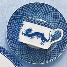 Mottahedeh Blue Dragon Can Cup & Saucer (2 Sets)