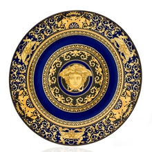 "Versace Medusa Blue Service Plate 12"" Decor Band"