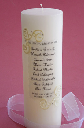 Our large French Lace memorial candle is designed to match our French Lace unity candles!