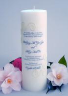 Cream Lace Wedding Invitation Candle