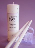Violet Swarovski Crystal Wedding Unity Candles