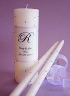 Violet Swarovski Crystal Wedding Unity Candles